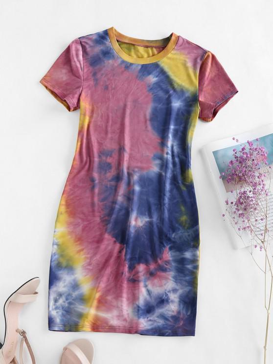 lady ZAFUL Tie Dye Bodycon Mini Dress - MULTI-B XL