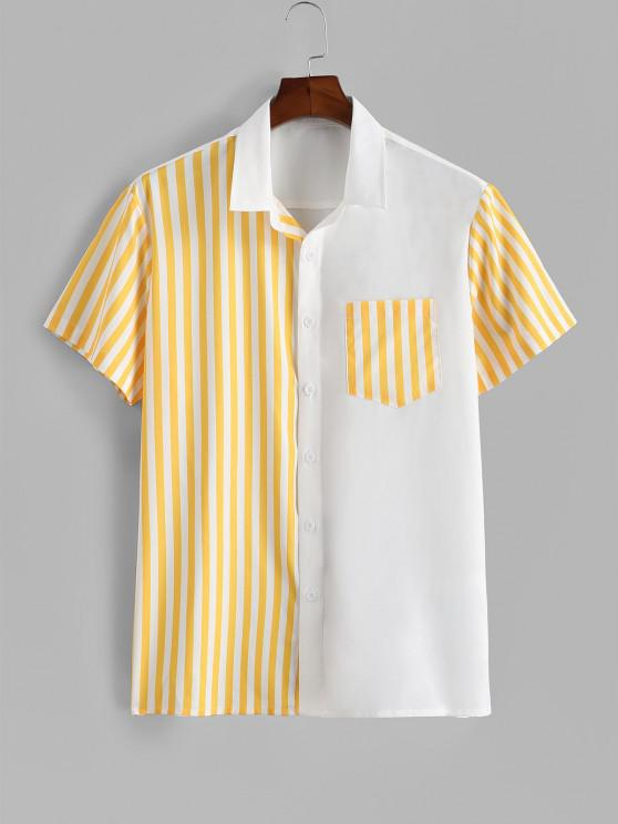 latest Contrast Striped Patch Pocket Vacation Shirt - WHITE 2XL