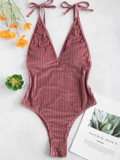 ZAFUL Velvet Ribbed Backless Swimsuit - Lipstick Pink S