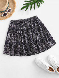 Ditsy Print Tiered Skirt - Deep Blue S