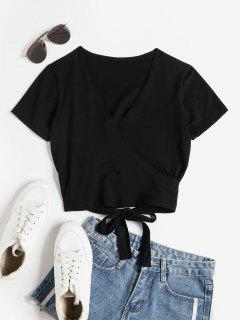 V Ausschnitt Crop Wickel T-Shirt - Schwarz S