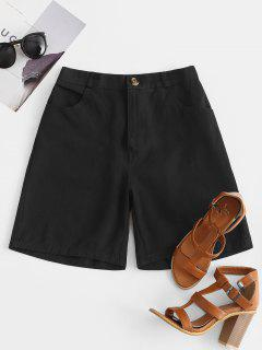 High Rise Zip Fly Pocket Bermuda Shorts - Black M