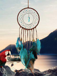 Home Decoration Faux Turquoise Beaded Feather Dream Catcher - Multi-a