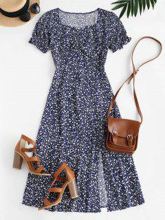 Ditsy Floral Slit Midi Tea Dress - Blue S