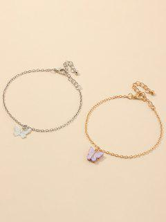 Alloy Butterfly Shape Charm Bracelets Set - Multi-a