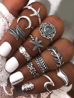 11 Pcs Leaf Starfish Moon Ring Set - Silver