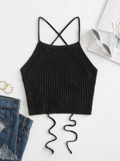 Lace Up Knitted Crop Cami Top - Black