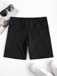 High Rise Pocket Stretchy Biker Shorts - Black L