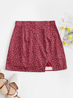 Notched Hem Ditsy Floral Mini Skirt - Red S