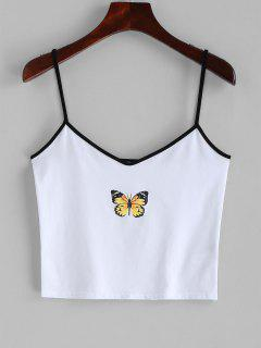 Contrast Cropped Butterfly Cami Top - White S