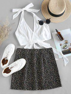 ZAFUL Halter Self Tie Top With Print Skirt Two Pieces Set - Black S