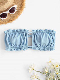ZAFUL Textured Tie Convertible Bandeau Bikini Top - Light Blue S