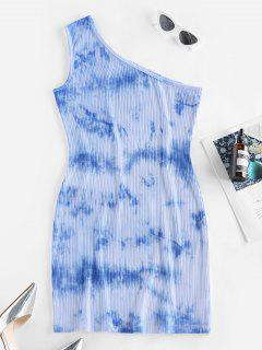 ZAFUL Tie Dye One Shoulder Bodycon Dress - Light Blue S