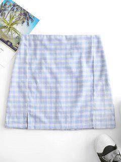 Back Zipper Plaid Slit Mini Skirt - Blue Gray M