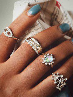 4Pcs Eye Teardrop Rhinestone Ring Set - Golden