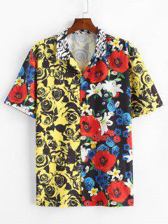 Rose Flower Print Contrast Vacation Shirt - Yellow Xl
