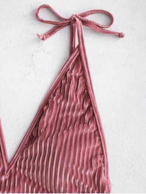 ZAFUL Bañador en Una Pieza de Terciopelo Acanalado de Pana - Lápiz Labial Rosa S Mobile