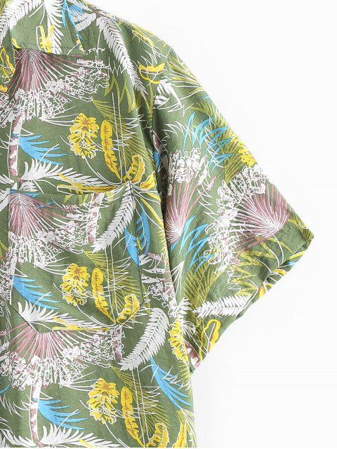 hot Tropical Trees Print Pocket Beach Shirt - GREEN XL Mobile