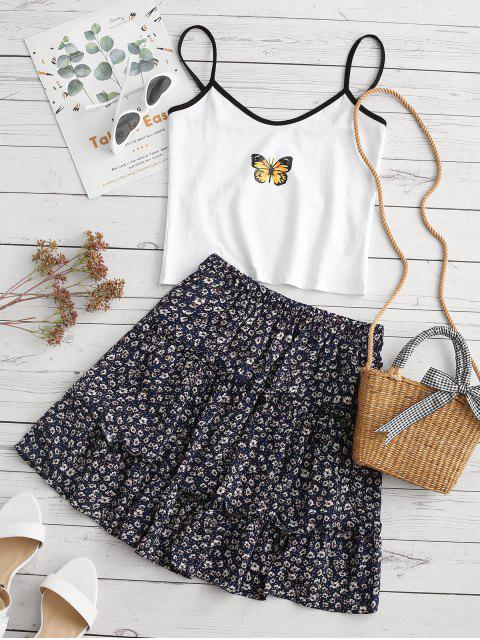 hot Ditsy Print Tiered Skirt - DEEP BLUE S Mobile