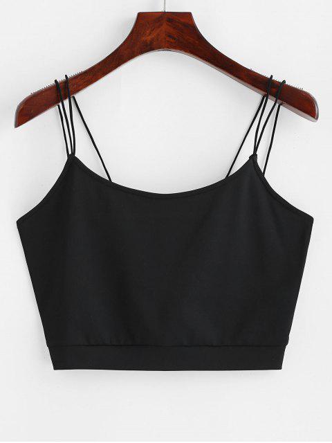 ladies ZAFUL Solid Color Crop Strappy Cami Top - BLACK S Mobile