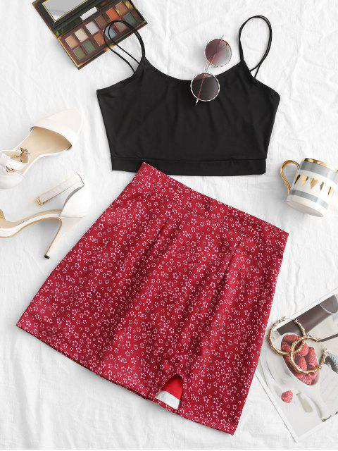 fashion ZAFUL Solid Color Crop Strappy Cami Top - BLACK M Mobile