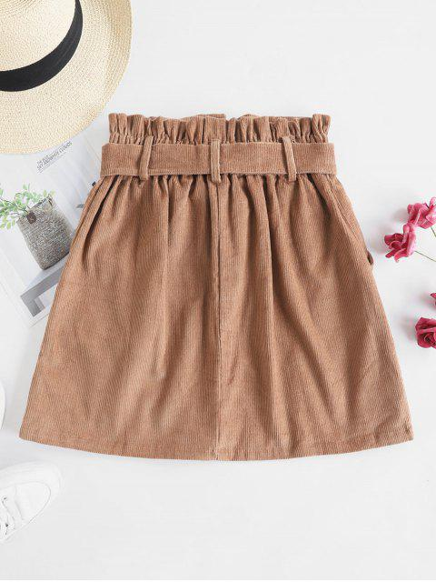 fashion Button Fly Corduroy Belted Paperbag Skirt - BROWN XL Mobile