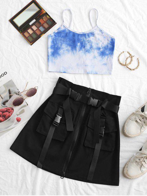 sale Grunge Zip Front Buckled Belted Cargo Skirt - BLACK M Mobile