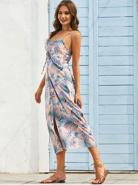 Vestido Cami Longo com Estampa de Folha - Rosa Claro M Mobile
