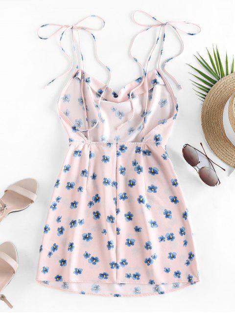best ZAFUL Ditsy Print Tie Shoulder Backless Dress - PINK L Mobile