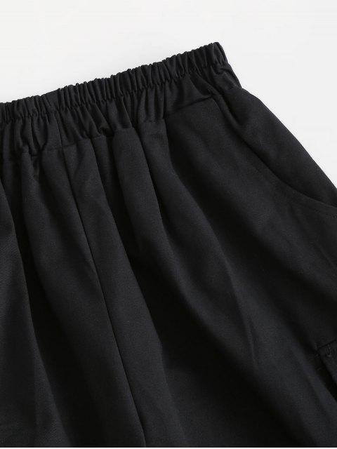 unique Buckle High Waisted Pocket Cargo Shorts - BLACK M Mobile