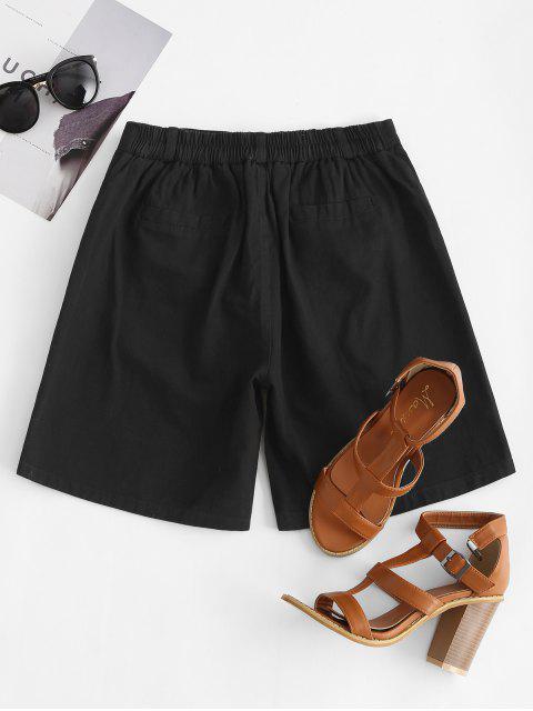 shop High Rise Zip Fly Pocket Bermuda Shorts - BLACK 2XL Mobile