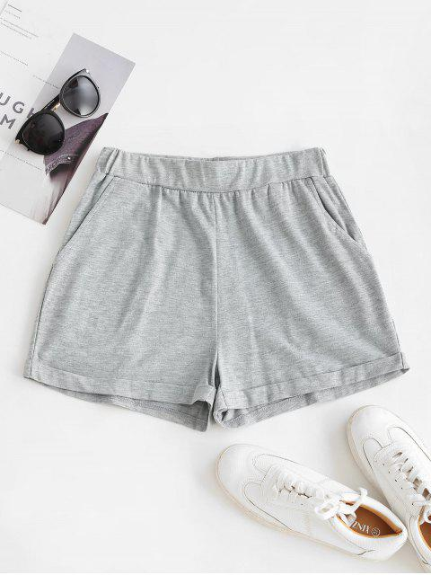 best ZAFUL Pull On Pocket Cuffed Shorts - GRAY S Mobile