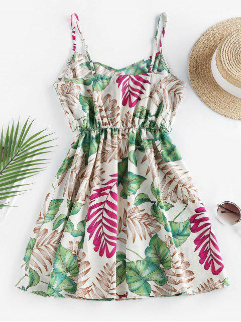 lady ZAFUL Leaf Print Tropical Sundress - WHITE M Mobile