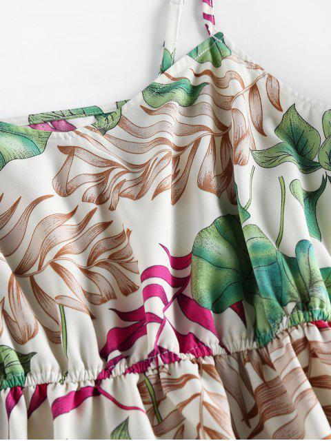 ZAFUL Vestido de Sol con Estampado Tropical de Hojas - Blanco XL Mobile