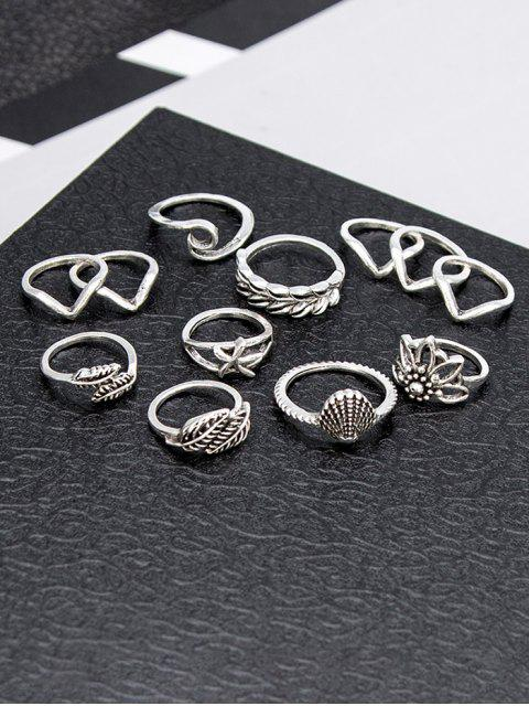 Blatt Muschel Seesternform Ringe Set - Silber  Mobile