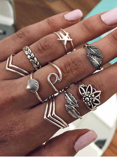Leaf Shell Starfish Shape Rings Set - فضة  Mobile