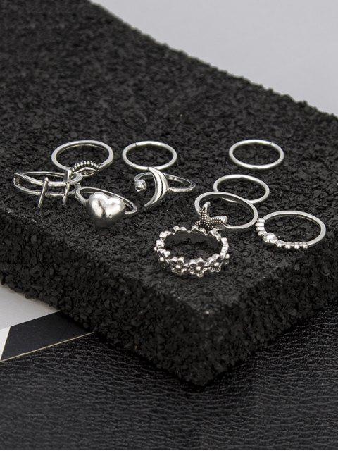 buy 10Pcs Heart Eye Starfish Ring Set - SILVER  Mobile