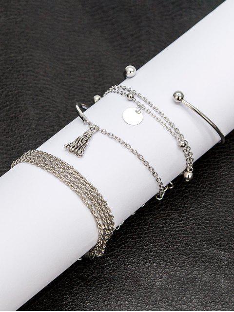 fashion 4Pcs Ethnic Tassel Layered Bracelet Set - SILVER  Mobile