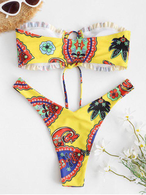 womens ZAFUL Bohemian Printed Lace-up High Cut Bandeau Bikini Swimwear - YELLOW S Mobile
