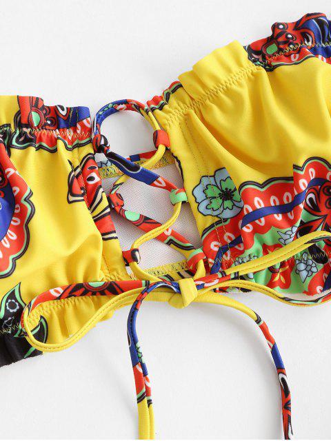women ZAFUL Bohemian Printed Lace-up High Cut Bandeau Bikini Swimwear - YELLOW M Mobile