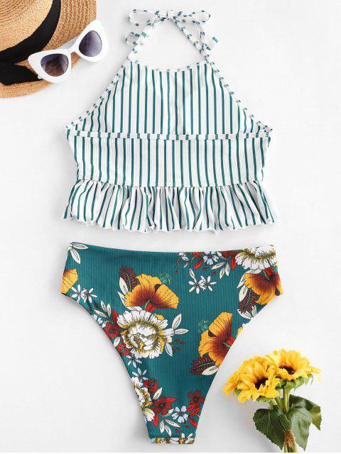 lady ZAFUL Striped Flower Ribbed Ruffle Halter Tankini Swimwear - DEEP GREEN M Mobile