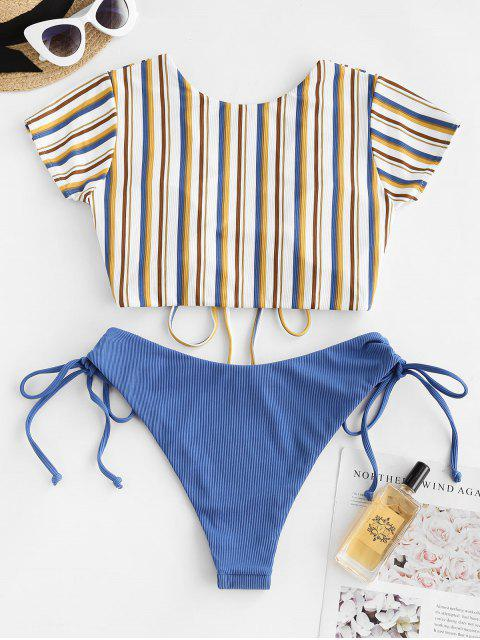 womens ZAFUL Ribbed Striped Cinched Two Piece Swimwear - BLUE XL Mobile