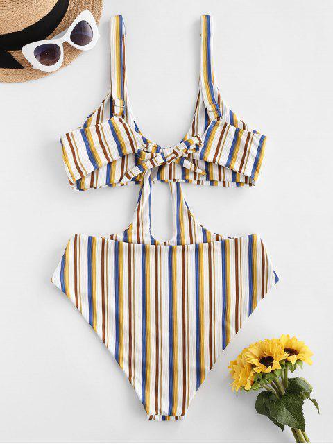 ZAFUL Ribbed Striped Cutout Trikini Swimsuit - متعدد XL Mobile