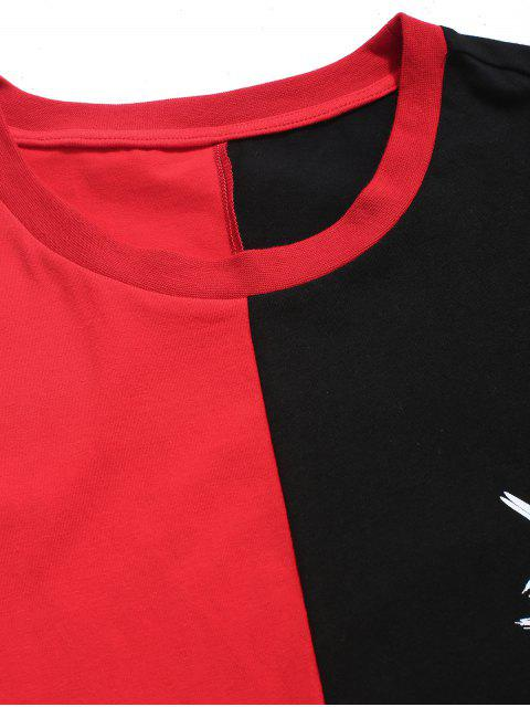 outfits ZAFUL Color Blocking Round Neck T-shirt - RED L Mobile