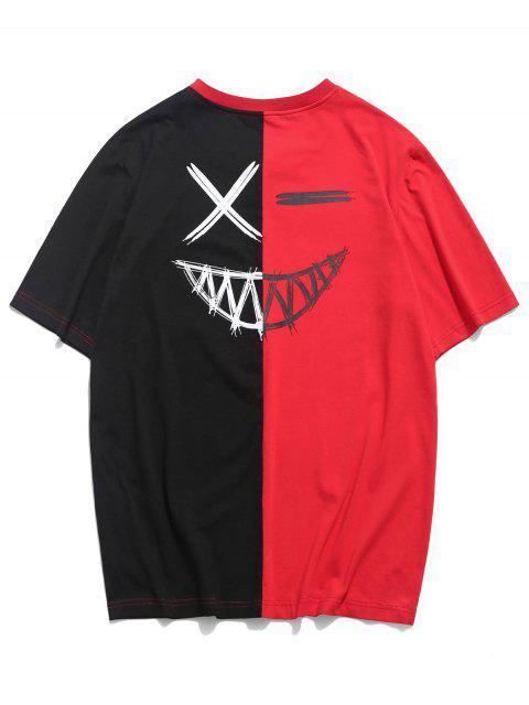 ZAFUL Camiseta de Cuello Redondo de Bloqueo de Color - Rojo 2XL Mobile