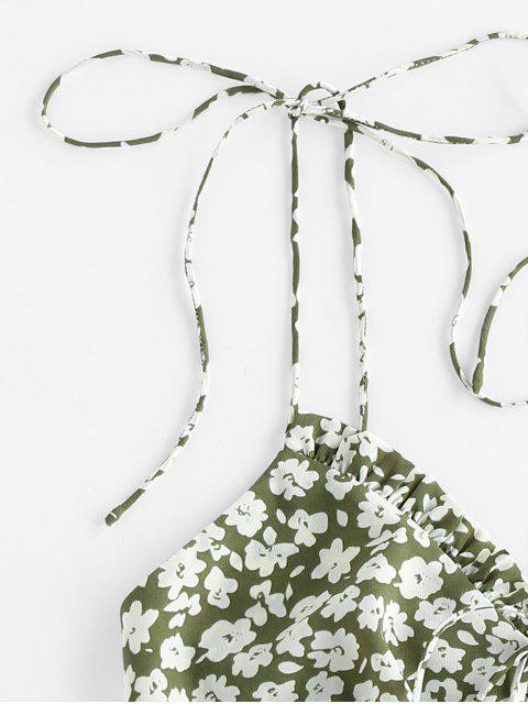 ladies ZAFUL Ditsy Print Ruffle Smocked Tie Shoulder Bustier Top - SHAMROCK GREEN XL Mobile