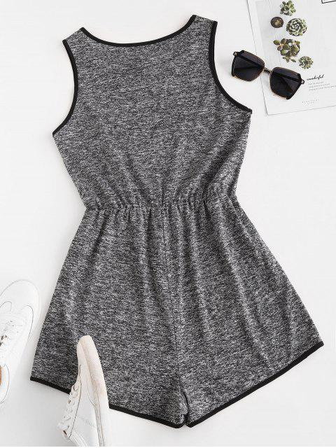 chic Binding Heathered Romper - GRAY M Mobile