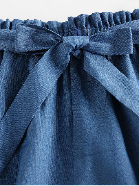 affordable ZAFUL Belted Chambray Paperbag Shorts - BLUE M Mobile