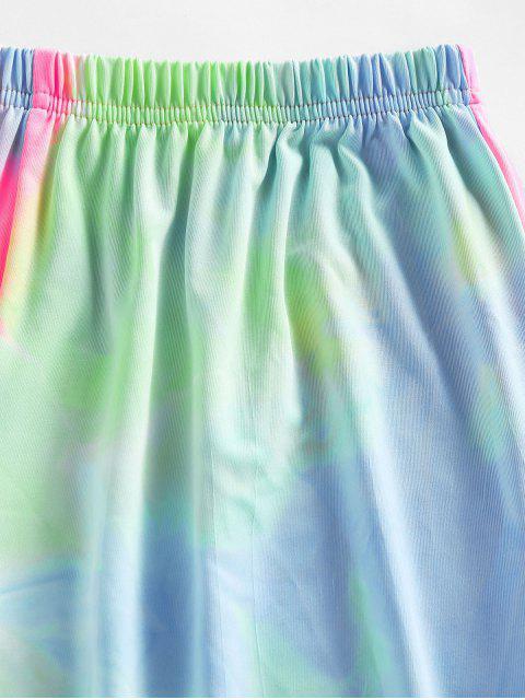 ZAFUL Krawattenfärbender Langarm Shorts Set mit Hoher Taille - Multi M Mobile