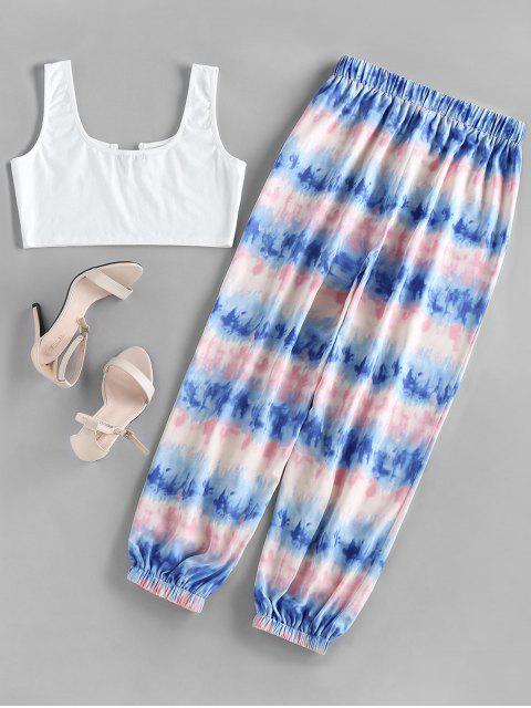 hot ZAFUL V Wired Top and Tie Dye Jogger Pants Set - MULTI M Mobile